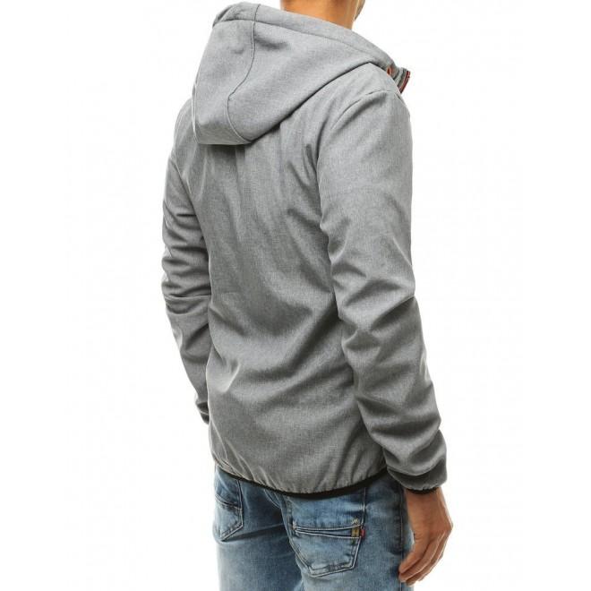 Šedá softshellová bunda s kapucí pro pány