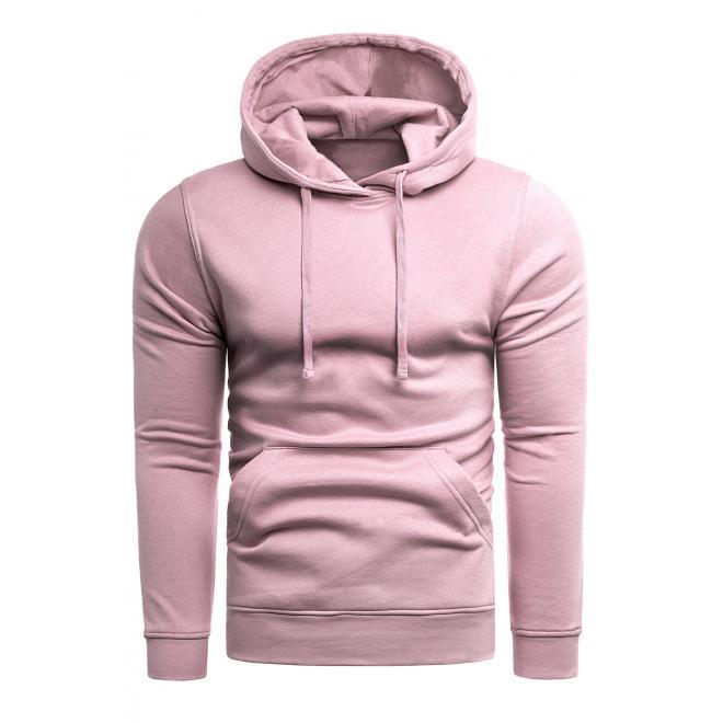 Klasické pánské mikiny růžové barvy s kapucí
