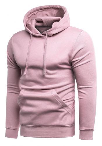Klasické pánské mikiny růžové barvy s kapucí ve výprodeji