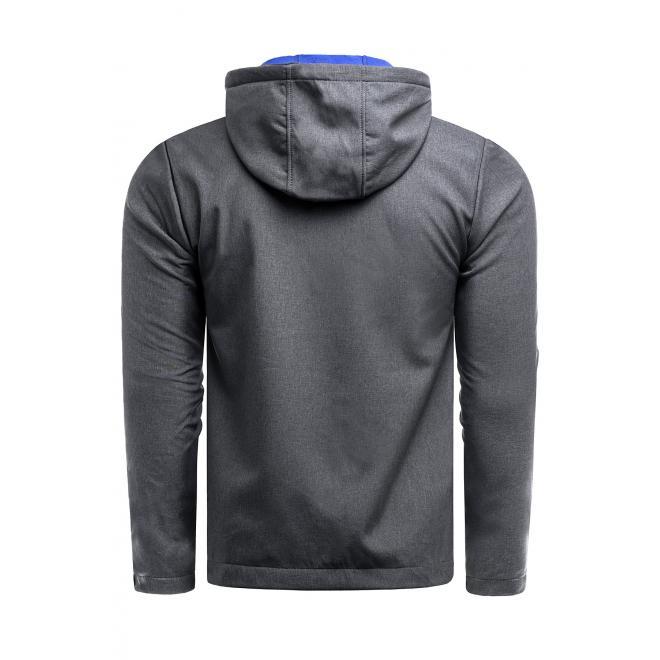 Pánské přechodné bundy s kapucí v tmavě šedé barvě