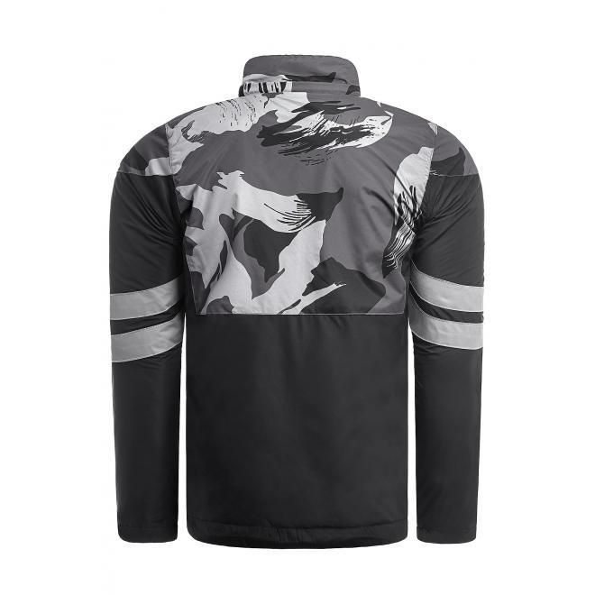 Pánská jarní bunda se vzorem v šedo-černé barvě