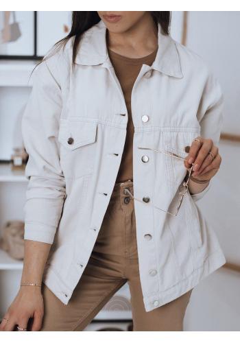 Béžová klasická riflová bunda pro dámy
