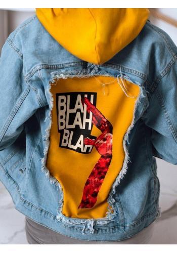 Dámská riflová bunda s potiskem na zádech v světle modré barvě