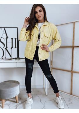 Žlutá riflová bunda s kovovými prvky pro dámy