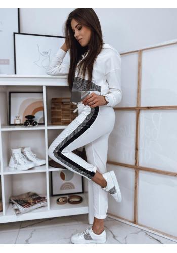 Bílé kalhoty s módním pruhem pro dámy