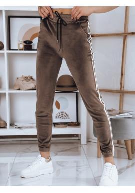 Velurové dámské tepláky béžové barvy s vysokým pasem