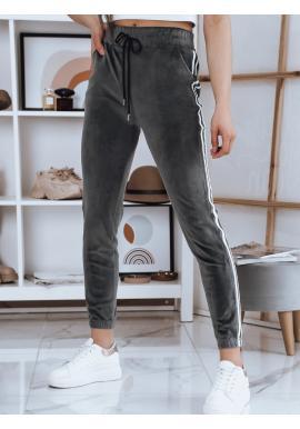 Velurové dámské tepláky tmavě šedé barvy s vysokým pasem