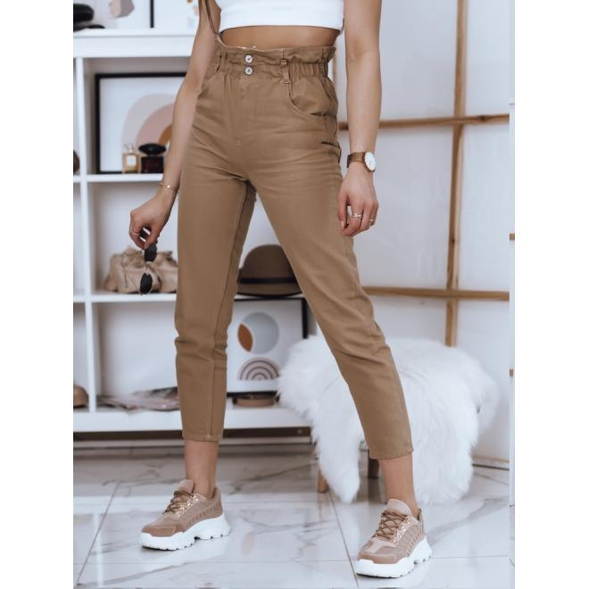 Hnědé módní kalhoty s vysokým pasem pro dámy