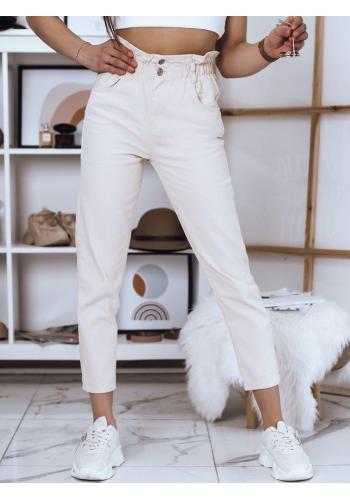 Dámské módní kalhoty s vysokým pasem v béžové barvě