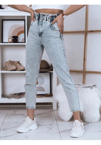 Módní dámské kalhoty světle modré barvy s vysokým pasem