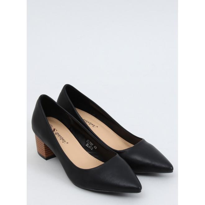 Elegantní dámské lodičky černé barvy na širokém podpatku
