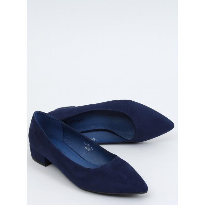 Semišové dámské lodičky tmavě modré barvy na nízkém podpatku