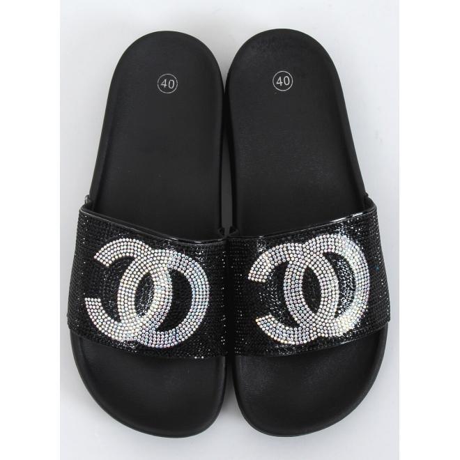 Černé stylové pantofle s kamínky pro dámy