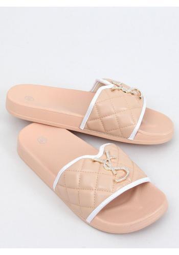 Dámské prošívané pantofle s třpytivou ozdobou v béžové barvě