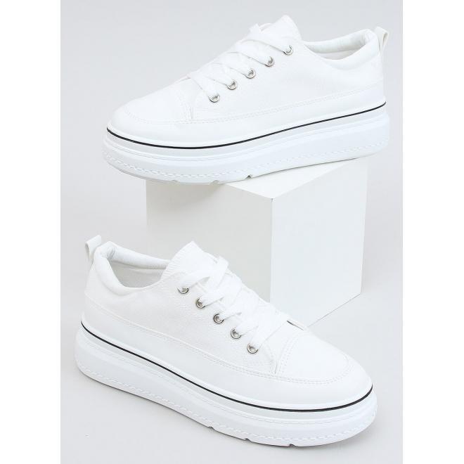 Dámské módní tenisky s vysokou podrážkou v bílé barvě