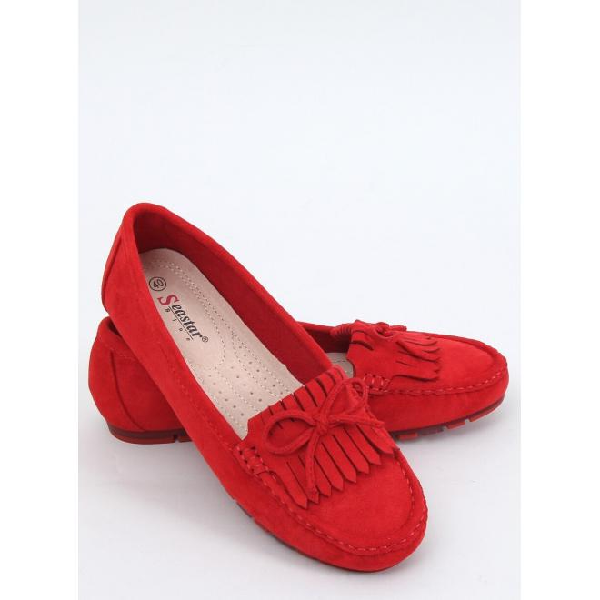 Klasické dámské mokasíny červené barvy s třásněmi