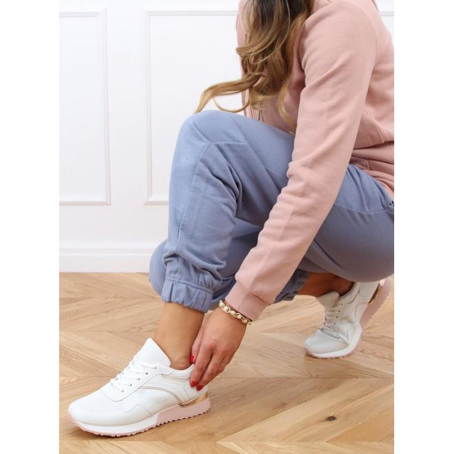 Dámské sportovní tenisky s metalickými doplňky v bílo-růžové barvě