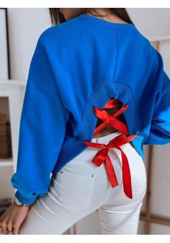 Modrá bavlněná mikina s vázáním na zádech pro dámy