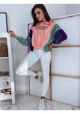 Stylová dámská mikina růžové barvy s potiskem