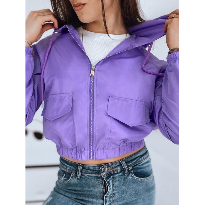 Fialová krátká bunda s kapucí pro dámy