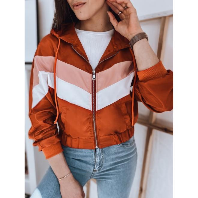 Dámská krátká bunda s barevnými pruhy v oranžové barvě