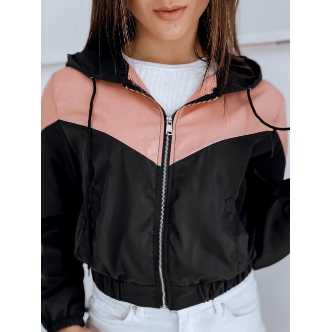 Černá krátká bunda s kapucí pro dámy