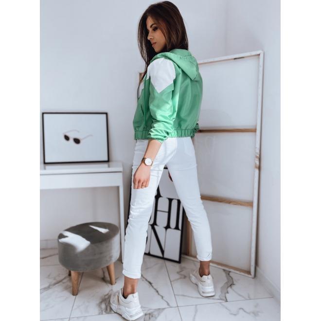 Krátká dámská bunda zelené barvy s kapucí