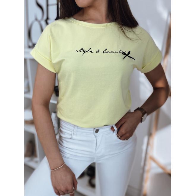 Dámské klasické tričko s nápisem ve žluté barvě