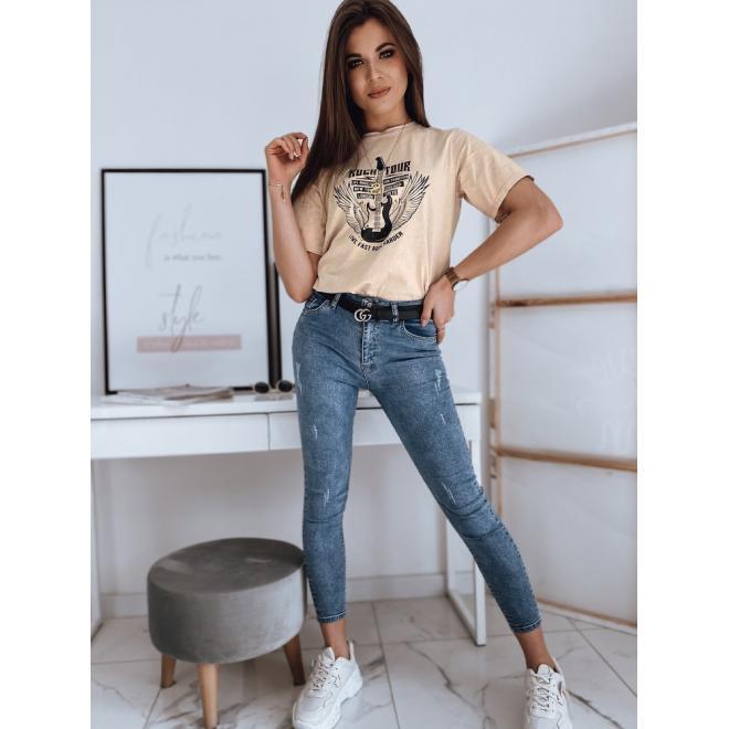Dámské bavlněné tričko s potiskem v béžové barvě