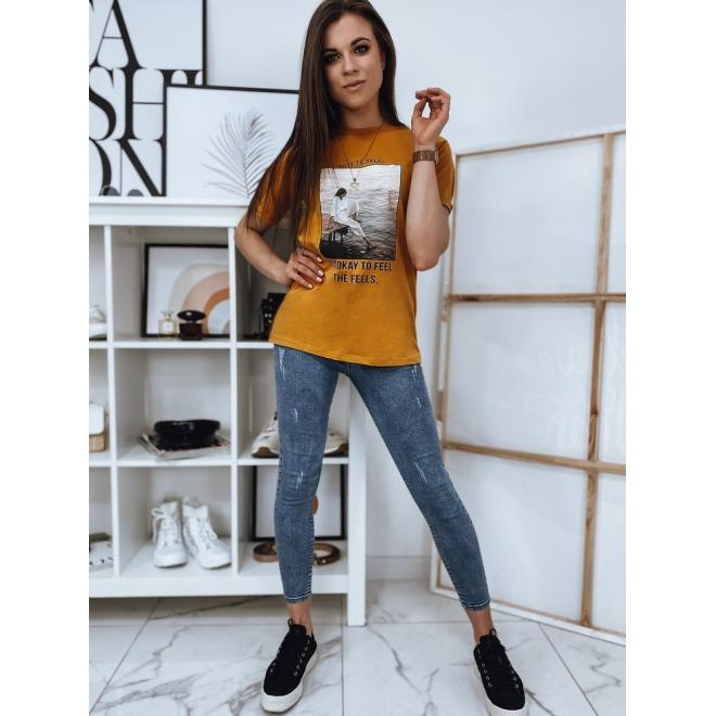 Hořčicové bavlněné tričko s potiskem pro dámy