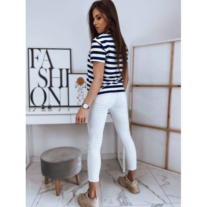 Proužkované dámské tričko modro-bílé barvy s potiskem
