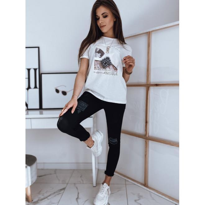 Bílé bavlněné tričko s potiskem pro dámy