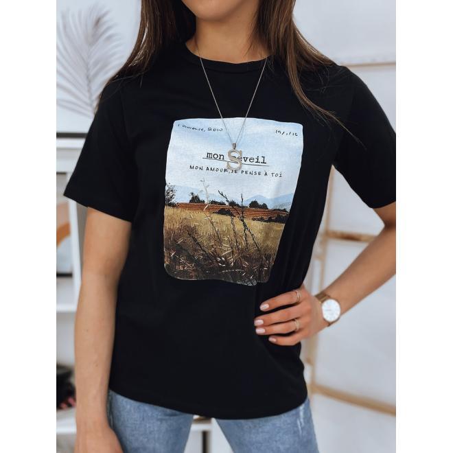 Dámské bavlněné tričko s potiskem v černé barvě