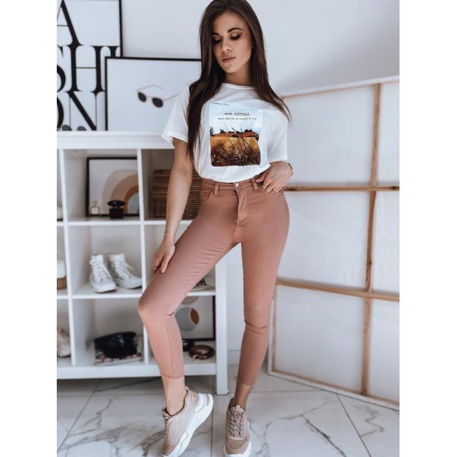 Bavlněné dámské trička bílé barvy s potiskem