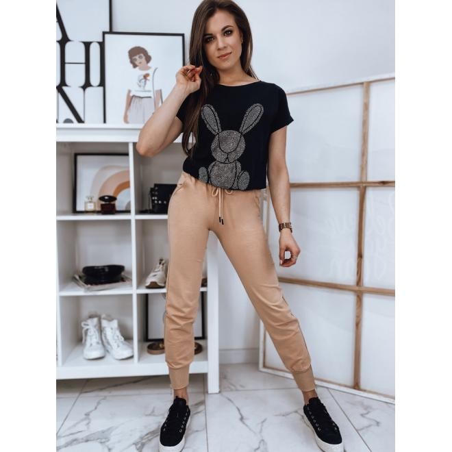 Módní dámské tričko černé barvy s kamínky