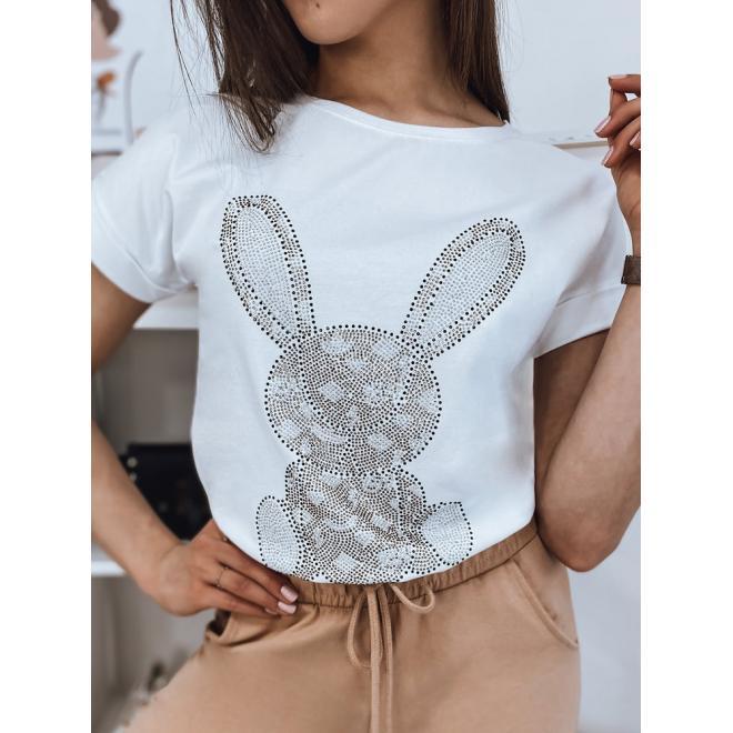 Bílé módní tričko s kamínky pro dámy