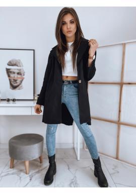Černý oversize kabát s rozparkem vzadu pro dámy