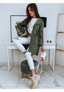 Dámský oversize kabát s rozparkem vzadu v khaki barvě