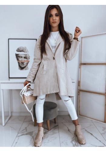 Oversize dámský kabát béžové barvy s rozparkem vzadu