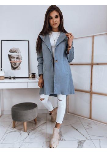 Světle modrý oversize kabát s rozparkem vzadu pro dámy