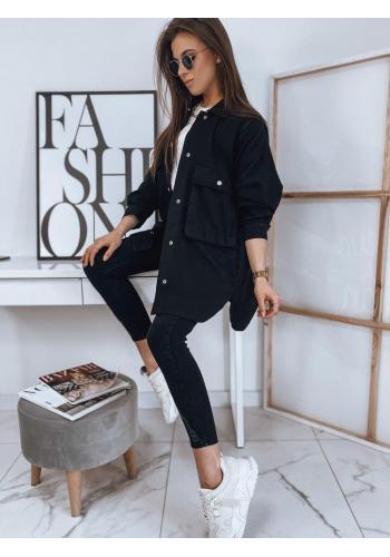 Černá delší bunda na jaro pro dámy