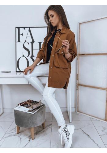 Delší dámská bunda hnědé barvy na jaro