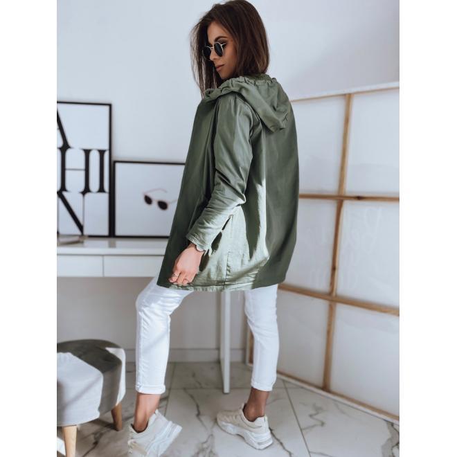 Dámský módní přehoz s kapucí v khaki barvě