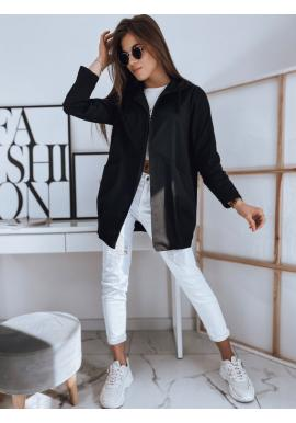 Módní dámský přehoz černé barvy s kapucí