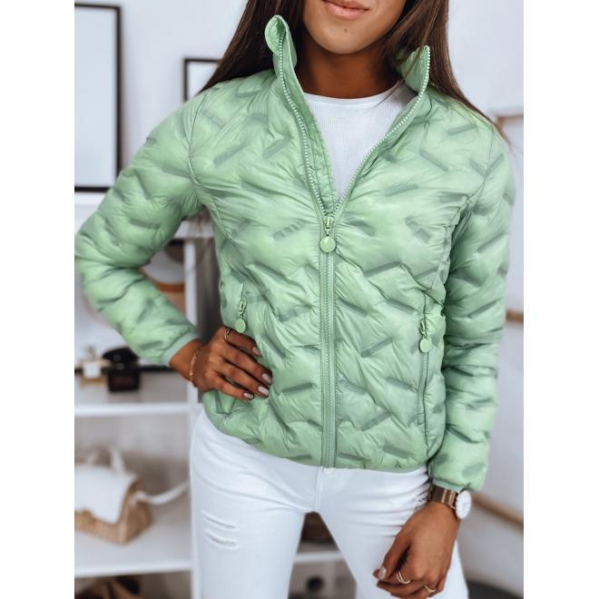 Dámská prošívaná bunda na jaro v zelené barvě