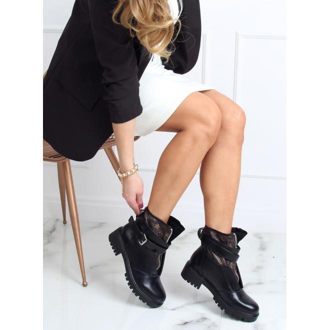 Dámské stylové boty se vzorem a zipem v černé barvě