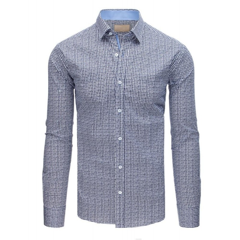 Tmavě modrá elegantní košile s květy pro pány