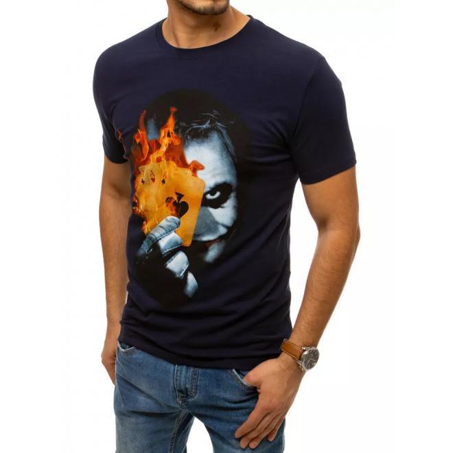 Stylové pánské tričko tmavě modré barvy s potiskem Jokera