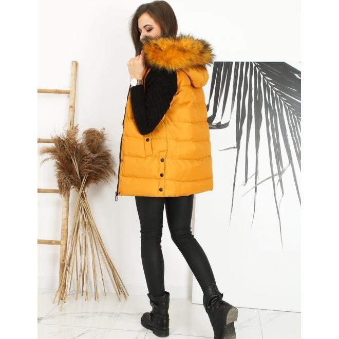 Žlutá prošívaná vesta s odepínací kapucí pro dámy