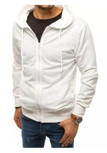 Zapínaná pánská mikina bílé barvy s kapucí